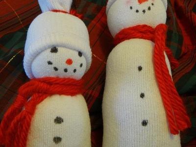 Easy Sock Snowman Tutorial with Ashley