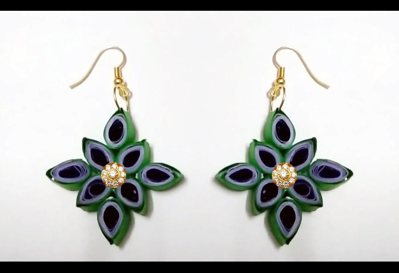 Flower model quilling earrings made easy  - Quilling earrings making
