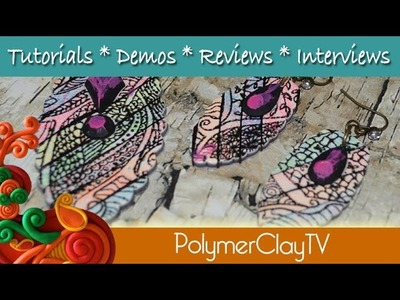 Gelliprint and silkscreened polymer clay Jewelry