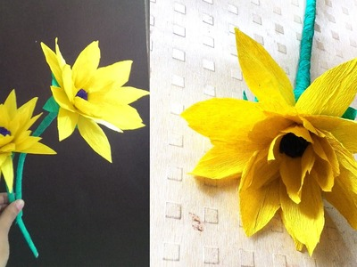 How to make sunflower with paper | DIY crepe paper flower
