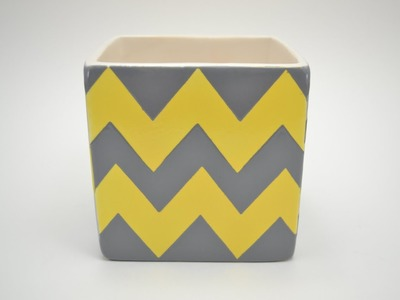 How to Paint Pottery:  Chevron Pattern