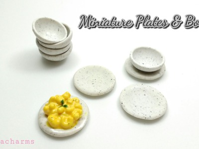 Miniatutre Plates and Bowls : Easy Polymer Clay Tutorial : 1.12 Scale Dollhouse Miniatures