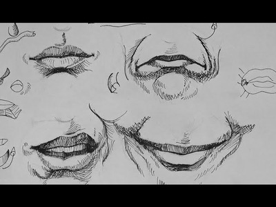 Pen & Ink Drawing Tutorials | How to draw realistic mouth expressions