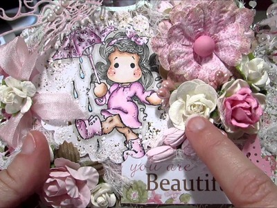 Shaped Shabby Chic Magnolia Tilda Easel Card