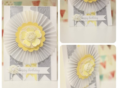 Stampin Up Thank Card It's Friday  Vellum Rozette Birthday Card