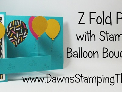Z Fold Pop Up Card with Balloon Bouquet punch from Stampin'Up!