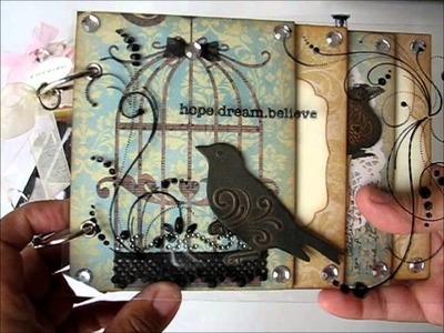 Chipboard mini album with acetate cover
