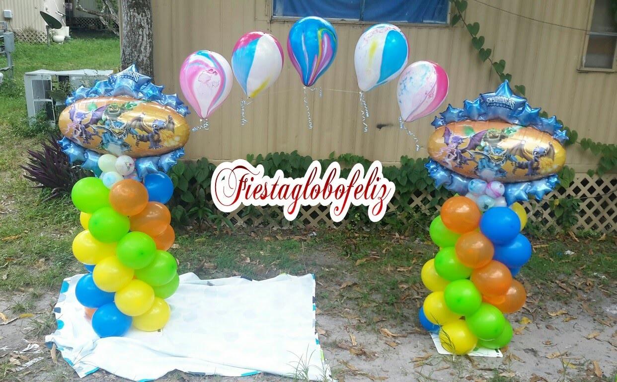 Como hacer un arco de skylanders hecho con globos_how to make a arc made with balloons skylanders