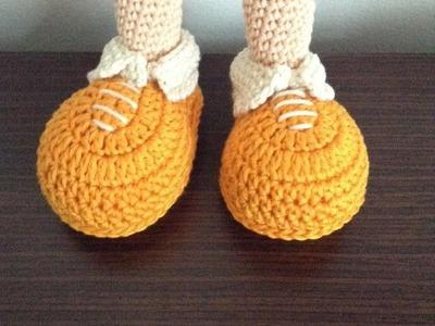 Como tejer zapatos de la payasita hechos By Petus