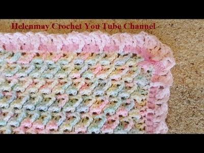 Crochet Alternate Border for Baby Blanket With Ribbon DIY Tutorial