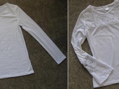 DIY Camiseta customizada com renda by Customização & Cia