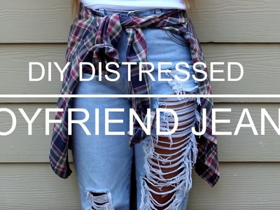DIY Distressed High Waisted Boyfriend Jeans + how i style them!