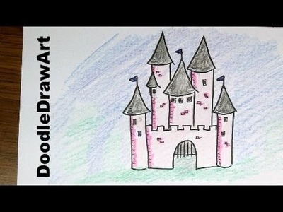 Drawing: How To Draw Cartoon Castle [HD] Step by Step drawing lesson for kids!  Easy and fun