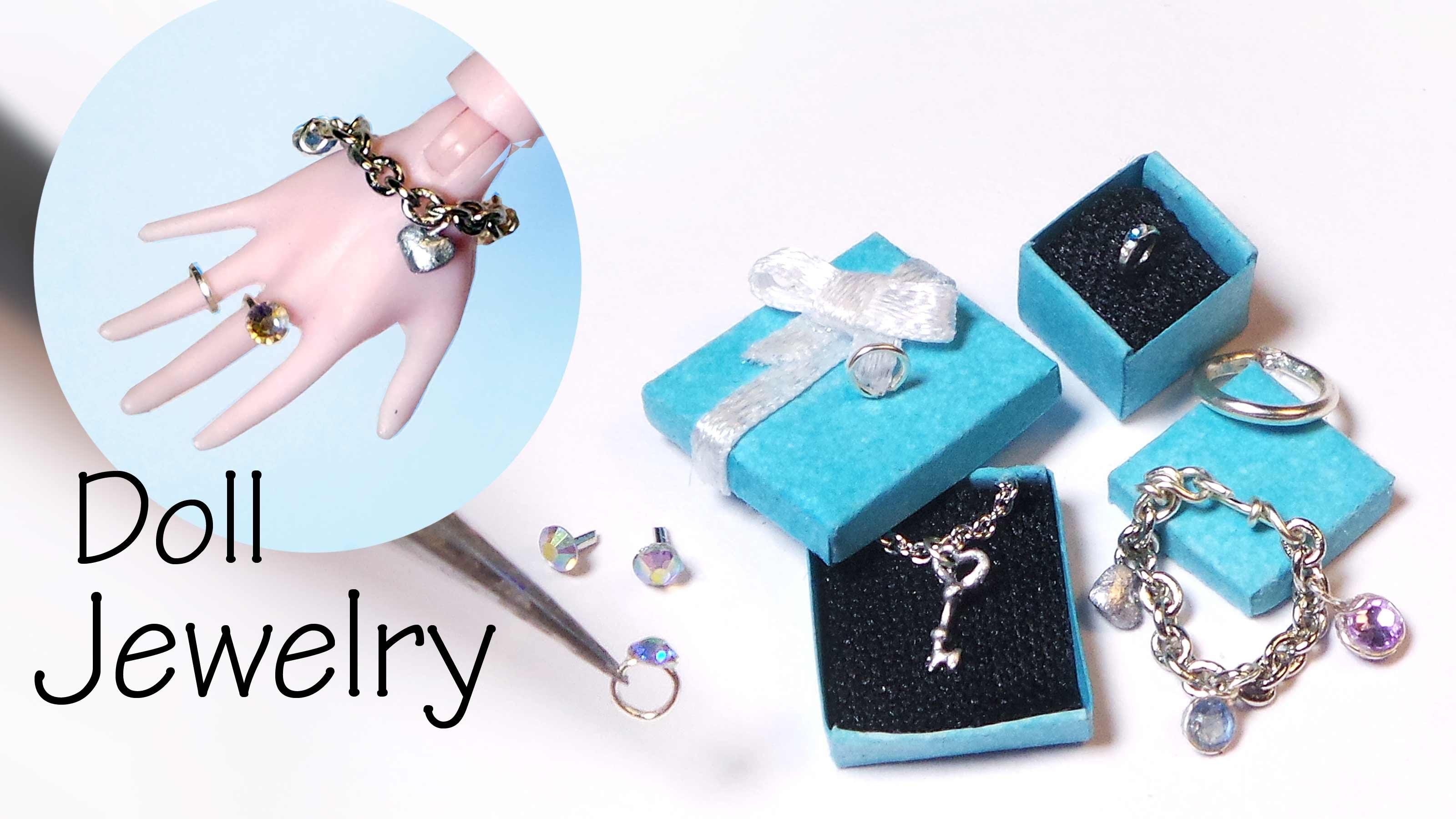 Easy Miniature Jewelry Tutorial; Charm Bracelet, Necklace, Rings, Earrings