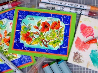 Faux Tiles & Watercolor Marker Tips. STAMP SCHOOL
