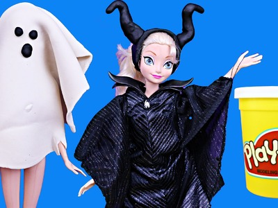 Frozen Play-Doh Elsa & Anna Halloween Costume DisneyCarToys Barbie Ghost and Disney Maleficent
