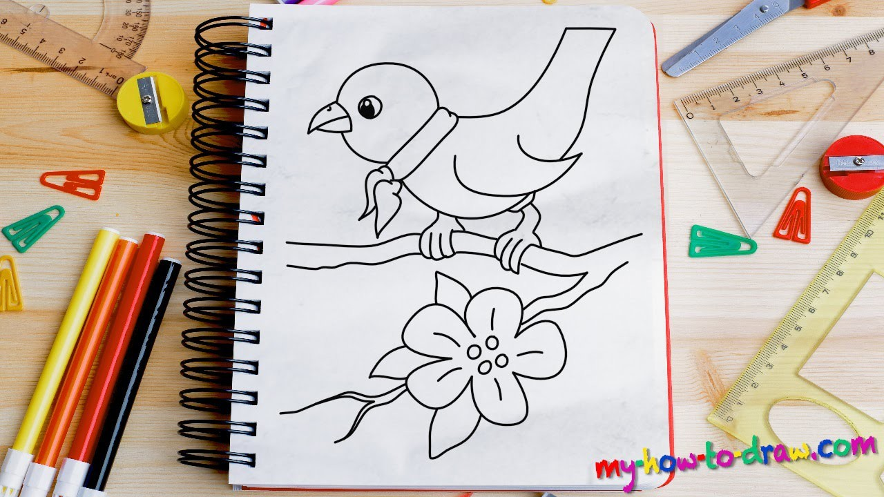 How to draw a Bird - Easy step-by-step drawing lessons for kids