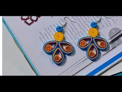 How to make Easy Orange Quilling Earrings for Girls