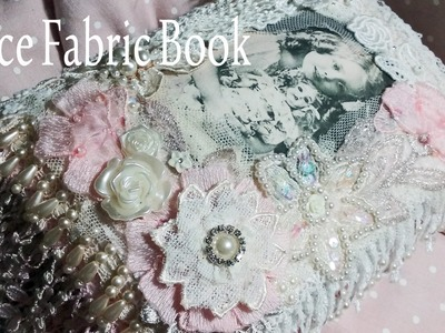 Lace Fabric Book 'Vintage Girls and thier Dolls' - Swap FOR Michelle