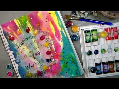 Mixed media fun: Pouring Paint & Stamping Gear tips!
