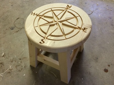 Simple Step Stool with CNC Carved Top