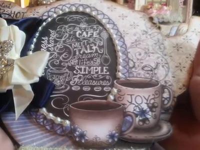 *SOLD*Coffee Talk Coffee Pot Chipboard Mini Album for SaCrafters