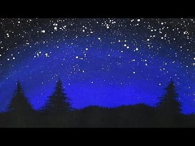 Acrylic Painting - Midnight Pines - Silhouette Painting