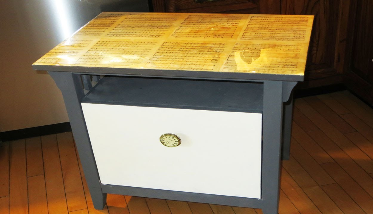 DIY Decoupage Table with Tea Stain Music 2 part resin