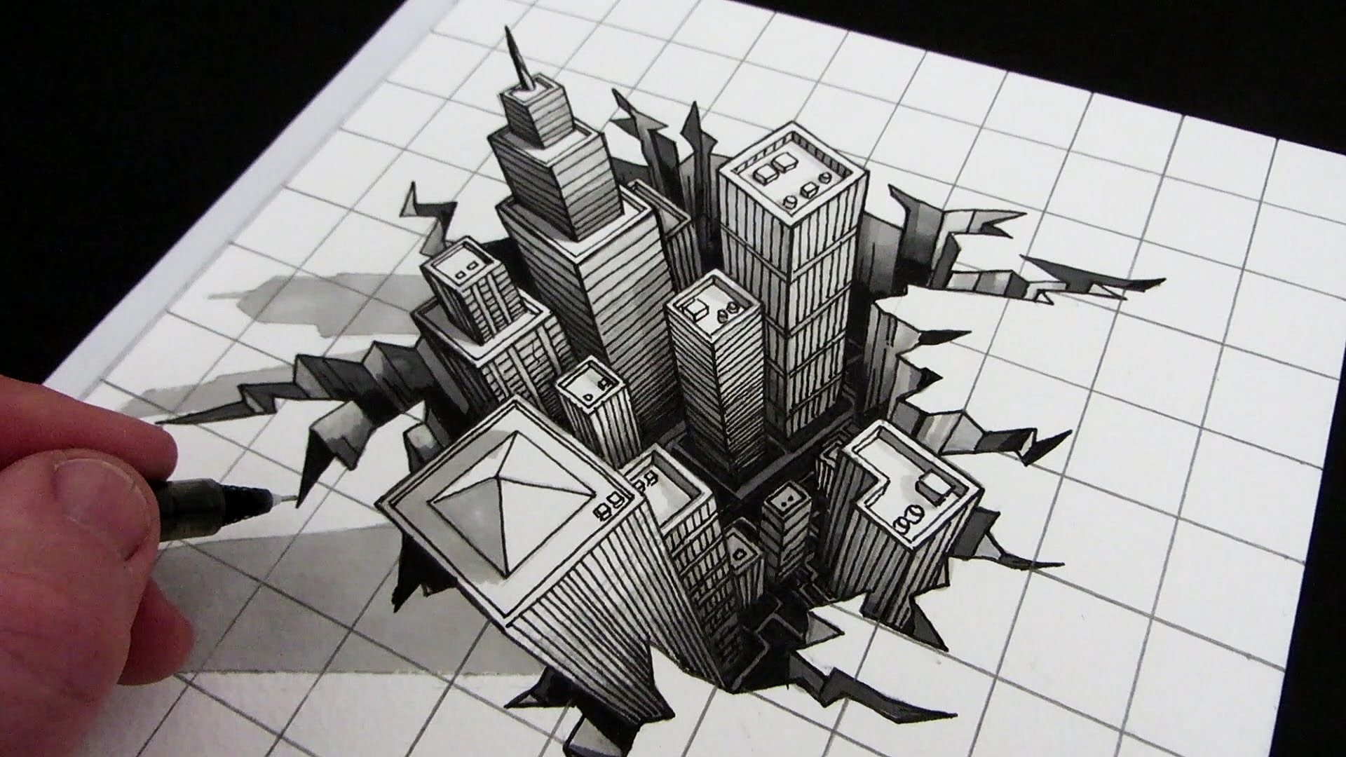 Line Art Drawing Tutorial : How to draw a hole d city optical illusion my crafts