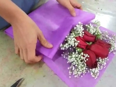 Making Flower Bouquet | Small posy of 5 red roses handbouquet Singapore Florist