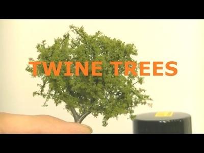 MODEL RAILROAD IDEA. TREES USING TWINE for branches MODEL TRAIN