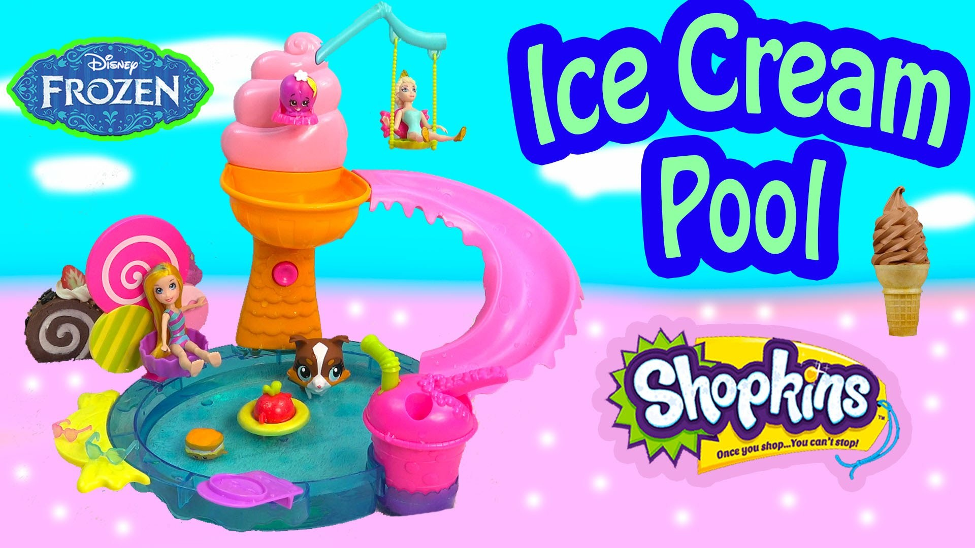 Polly Pocket Color Changer Doll Water Pool Playset Queen Elsa Disney Frozen Shopkins Season 3 Toy