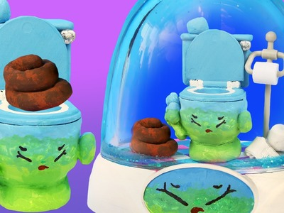 SQUEEZY POO SHOPKINS TOILET GLITTER GLOBE Make Your Own Toilet Paper Roll Paint Clay Brown Poop