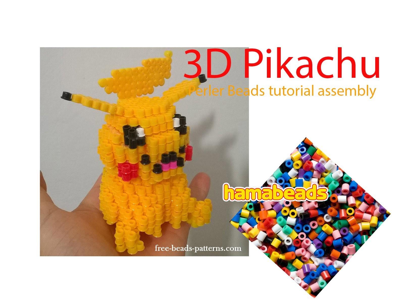 3d Pikachu Pokemon Perler Beads Hama Beads Tutorial Assembly