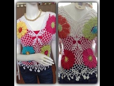 Como tejer Blusa Flores By Petus en crochet 1a. Parte