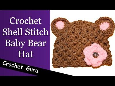 Crochet Baby Bear Hat - Shell Stitch Pattern