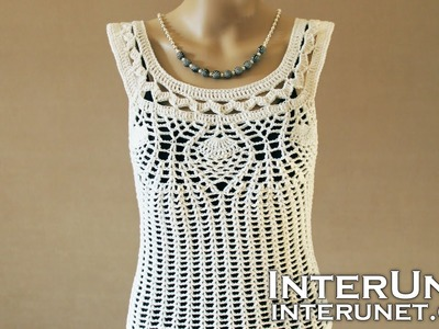 Crochet pineapple stitch tank top - lace blouse crochet pattern