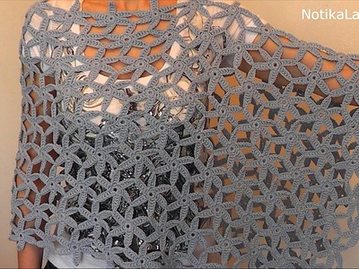 Crochet Poncho Shawl Scarf. Tutorial Part 2