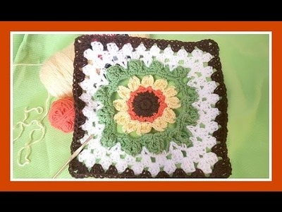 """Crocheted Sunflower Afghan""- (Motif Only)"