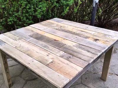 DIY giveaways & tutorials- DIY Pallet Table - 100% Pallet Wood Table ~ Mesa de Madera de Palets