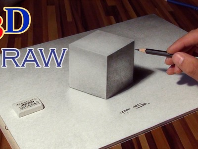 Drawing of a CUBE in 3D ! optical illusion (anamorphic)