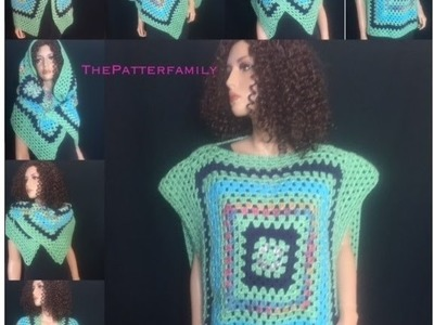 How to Crochet a Square Blouse. Shirt Pattern #18│by ThePatterfamily