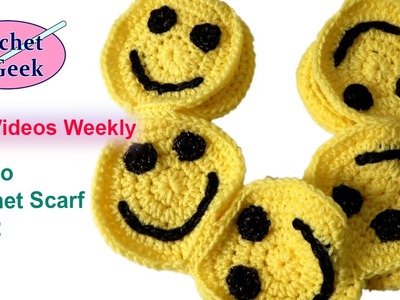 How to #Crochet Minions Smile Scarf part 2 #crochetgeek