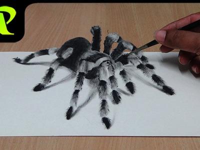 How to Draw 3D Spider - Anamorphic Illusion | Tarantula | Trick Art