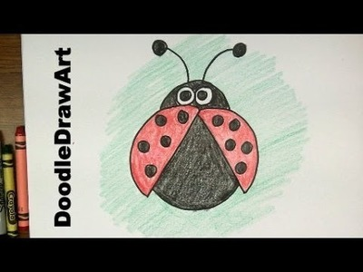 How To Draw a Ladybug!  Easy Cartoon Lady Bug tutorial - For Kids!