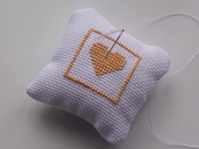 How to make Cross Stitch Heart Needle.Pin Cushion