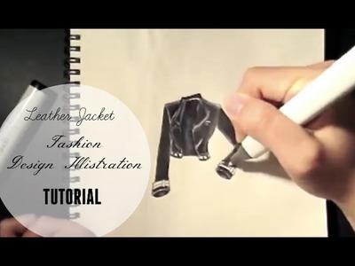Leather Jacket Fashion Design Illustration , Tutorial