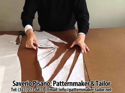Pattern making for Blue Decolette Dress by Patternmaker Pisano