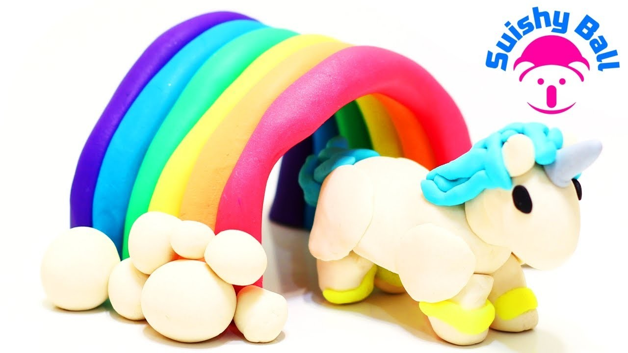Play-Doh Unicorn Walking through a Rainbow