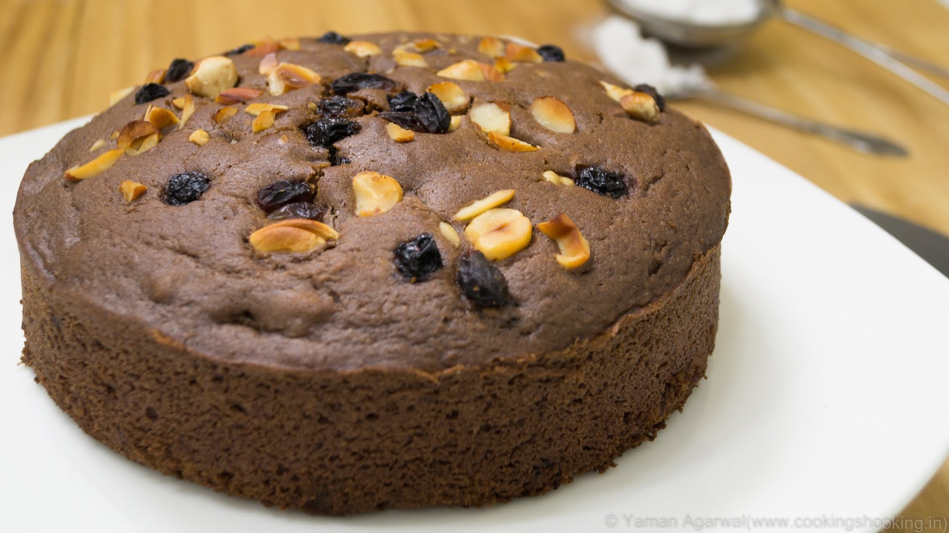 Pressure Cooker Eggless Chocolate Nuts Cake Recipe Eggless Baking Without Oven